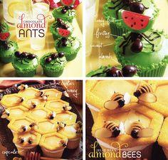 Hormigas y abejas sobre cupcakes