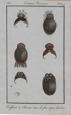 1816 Costumes Parisien. Styles for the hair, seen from both front and back.