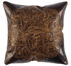 Embossed leather pillow with contrast corners