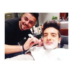 """Piero getting a shave.  Said """"SHE doesn't like me shaved but I did it."""" (She?)"""