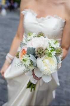 peonies, scabiosa pod, blush roses, love-in-a-mist - more textural