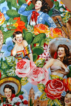 The mexican calendar girls - on our aprons ©Mexico Import Arts Australia