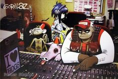 """Gorillaz """"Group & PIG Behind Mixing Board Poster - Rare New - Image Print Photo Poster Station"""