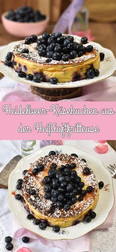 Heidelbeer-Käsekuchen aus der Heißluftfritteuse This fluffy, fruity cheesecake is quickly baked in the hot air fryer. Baking couldn't be quicker and easier. Oven French Toast, Cake Recipes, Dessert Recipes, 12 Recipe, Snacks Sains, Blueberry Cheesecake, Latin Food, Air Fryer Recipes, Health Desserts
