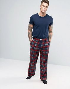 Discover the men's loungewear range at ASOS for an extra comfy time. From slouchy jersey tops & bottoms, to tanks & sleepwear with ASOS. Lounge Pants, Lounge Wear, Mens Sleepwear, Plaid Pajamas, Pajama Set, Parachute Pants, Asos, Female Outfits, Comfy