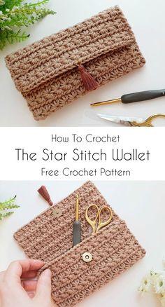 Crochet Star Stitch Wallet or Pouch Crochet Clutch Pattern, Crochet Clutch Bags, Wallet Pattern, Crochet Handbags, Crochet Patterns, Crocheted Purses, Diy Crochet Wallet, Crochet Case, Mode Crochet