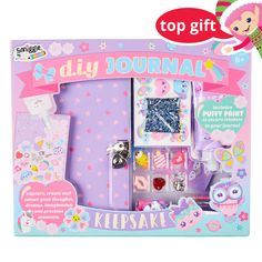 Smiggle DIY Keepsake Journal to Decorate Yourself - Pastel Purple Kits For Kids, Crafts For Kids, Cool School Supplies, Disney Phone Wallpaper, School Accessories, Cute Notebooks, Puffy Paint, Cute Stationery, Girly