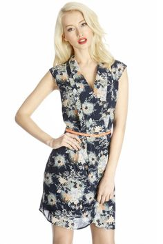 Tailored collar floral printed dress, sleeveless dress, ghl1000, yrb, fashion, yrbfashion, cute dress, cute, uk europe usa style, asian fash...