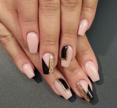 Pink, Black & Gold nails