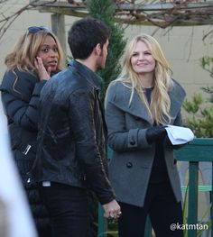 Colin, Jennifer, and Merrin on set of Once Upon a Time