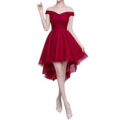 Bess Bridal Women's High Low Off Shoulder Lace Up Prom Homecoming Dress US12 Burgundy. Soft Tulle Fabric. A Line Silhouette with Off the Shoulder Neckline. Hemline: Short Front,Long Back.High Low Design. Back Details: Lace Up. Perfect for Prom dress, Homecoming Dress,Formal dress, Bridesmaid Dress, Bridal dress, Evening dress, Party Dress and other Special Occasions.