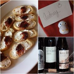 Our weekend eats included crostini with homemade #fig jam & #chevre + wines we love.