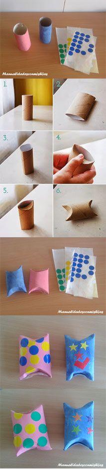 Manualidadesconmishijas: #retofacilisimo: Empaquetado de tubo de cartón con gomets  #toiletrol #recycle #gomets