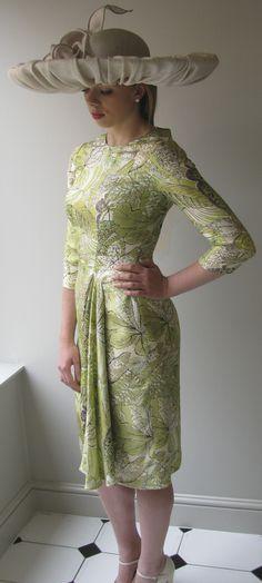 Green floral silk dress with Edwina Ibbotson hat