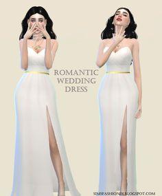 Sims Fashion01: SimsFashion01 - Wedding Dress With Gold Belt (The Sims 4) #weddingdress