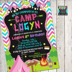 GLAM CAMPING chalkboard invitation - birthday/sleepover - YOU Print Excited to share the latest addition to my shop: GLAM CAMPING chalkboard invitation – birth Invitation Birthday, Party Invitations, Invitation Ideas, Glam Camping, Chalkboard Invitation, 8th Birthday, Sleepover, All Design, Rsvp