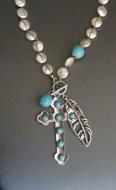 COWGIRL Bling  CROSS Feathers Concho Turquoise Silver Western Gypsy NECKLACE SET #blessed