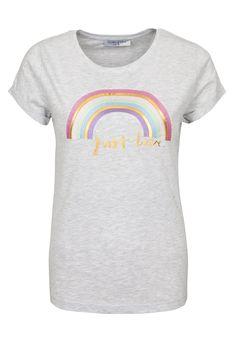 Fashion5 SUBLEVEL Damen T-Shirt mit Rosen-Stickerei grau   04058427445696 bf20c2ad96