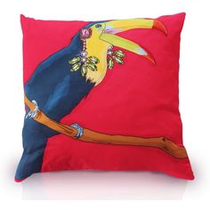 Perky - Toucan Print Cushion (450 CNY) found on Polyvore featuring home, home decor, throw pillows, twin pack, set of 2 throw pillows, multi colored throw pillows, colorful throw pillows and colorful home decor