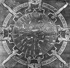 "Dendera Zodiac: is an Egyptian bas-relief from the ceiling of the portico of a chapel dedicated to ""God Osiris"" in the Godess Hathor temple at Dendera in Egypt. It's a map of the stars on a plane projection, showing the 12 constellations of the zodiacal band and the planets. This zodiac ceiling was moved in 1821 to Restoration Paris and, by 1822 was installed by Louis XVIII in the Royal Library (later called the National Library of France).__In 1922, the zodiac moved from there to the…"