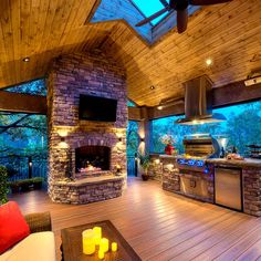 """Incredible Outdoor Deck Remodel Ideas For Awesome Home Awesome """"outdoor patio ideas backyards"""" i Backyard Kitchen, Outdoor Kitchen Design, Outdoor Kitchens, Country Kitchens, Mega Decks, Outdoor Living Rooms, Design Jardin, Backyard Patio Designs, Patio Ideas"""