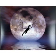 Dragon Moon Art Tile Julie Fain 10x8 in Fantasy Silhouette m269