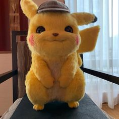 Would You Buy A Detective Pikachu Plush? This looks so real and creepy, but I definitely would get one Pikachu Art, Pikachu Nails, Nail Art Sticker, Cute Cartoon Wallpapers, Cute Pokemon, Cute Disney, Anime Naruto, Cute Baby Animals, Plush