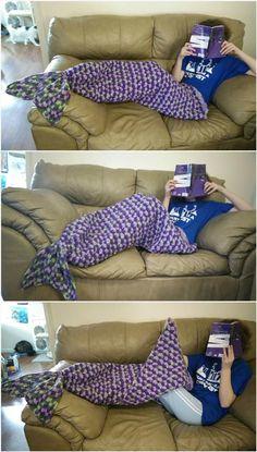 Crochet Adult Sized Mermaid Tail Lapghan - 22 Free Crochet Mermaid Tail Blanket Patterns