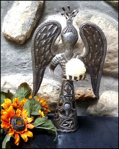 """Angel Metal Candle Holder - Recycled Steel Drum - 14"""" High   -  See more hand hammered Haitian metal art designs at www.HaitiMetalArt.com"""