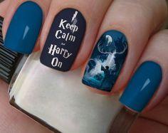 Harry Potter Nails Designs, Harry Potter Nail Art, Cute Harry Potter, Wow Nails, Aycrlic Nails, Cute Nails, Pretty Nails, Manicure, Nail Art Photos
