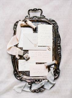 romantic wedding invitations - http://ruffledblog.com/vinewood-plantation-wedding-inspiration