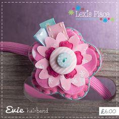 Evie, Flower hairband, Girls hair accessory, Handmade, Felt flower, Flower alice band. via Etsy.