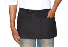 Half Apron. Designed for functional use in market, restaurant, garden... Three pockets. Holds cash, cell phones, tools and more. http://www.farmersmarketonline.com/marketsupply.htm