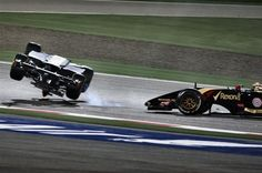 Esteban Gutierrez rolled and crashed out of the race after colliding with Pastor Maldonado, Bahrain Grand Prix
