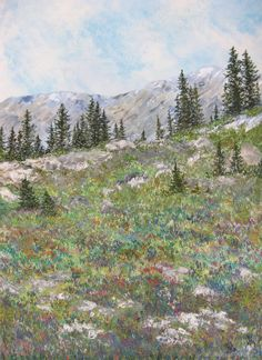 'Summer on the Mountain' Fabric/Embroidery/Paint, by Sylvia Naylor.    For more information  info@postmafineart.com or   visit www.postmafineart.com