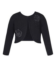 Black Flower Sweater Cardigan - Toddler & Girls