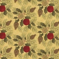 A gorgeous holiday fabric with holly, pine cones and pine needles on a eggnog yellow background.