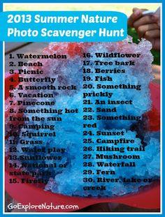Summer nature photo scavenger hunt from @Debi Gardner-Faver Gardner-Faver Huang