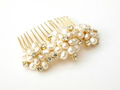 Wedding Pearl Hair Comb Gold Bridal Hair Accessories Ivory Real Pearls Vintage Floral Brooch Style Rhinestones Bridesmaid uketsypromo0313. £30.00, via Etsy.