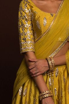 Golden Olive gota patti lehenga blouse. Click on picture to see price. #Frugal2Fab Indian Wedding Outfits, Indian Party Wear, Pakistani Outfits, Bridal Outfits, Indian Wear, Indian Outfits, Indian Dresses, Lehenga Blouse, Saree Dress