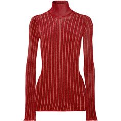 Ellery Urchin striped metallic ribbed-knit turtleneck sweater ($725) ❤ liked on Polyvore featuring tops, sweaters, red striped sweater, striped turtleneck, striped turtleneck sweaters, short-sleeve turtleneck sweaters and striped sweater