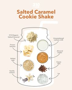 This vegan-friendly shake offers 20g of plant-based proteins and 12g of healthy fats from 310 Shake, cashew butter, and more for a satisfying snack or meal! 310 Shake Recipes, Protein Shake Recipes, Organic Cookies, Salted Caramel Cookies, Chocolate Covered Almonds, Banana Oatmeal Cookies, Peanut Butter Banana, Cashew Butter, Organic Chocolate