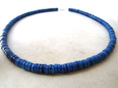 Mens Puka Necklace Unisex Blue Royal Sapphire by BellinaCreations, $40.00
