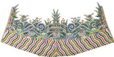 AN EMBROIDERED LISHUI STRIPE FRAGMENT FROM AN IMPERIAL DRAGON ROBE QIANLONG PERIOD (1736-1795) Embroidered in satin stitch as an undulating band of diagonal rainbow stripes capped with billowy ruyi heads and roiling, froth-capped waves crashing against tall peaked rocks, with precious objects tossed atop the froth-capped waves 52 in. (132 cm.) wide