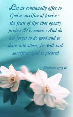 HEBREWS 15 Through Jesus, therefore, let us continually offer to God a sacrifice of praise—the fruit of lips that openly profess his name. 16 And do not forget to do good and to share with others, for with such sacrifices God is pleased. Praise The Lords, Praise And Worship, Praise God, Worship God, Scripture Verses, Bible Scriptures, Bible Quotes, Praise Quotes, Tea Quotes