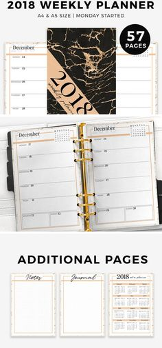 2018 is definitely your year with this weekly printable planner you will get both inspiration and organization in one planner.  ▶It comes in : A5 size, A4 size ▶It includes: 57pages x1 Cover  2018 Weekly planner ( WO1P ) ( Monday started ) x1 2018 at a glance x1 dotted journal x1 grided notes ▶Feature: *Unique design to inspire you for more organization. * Wide margins for hole punching from both sides . Instant download, print as many times as you want. #planners #ad #layout #printable…