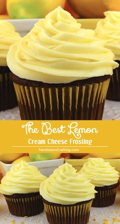 The Best Lemon Cream Cheese Frosting is tart and creamy and chock full of yummy Cream Cheese flavor - a great lemony twist on a classic frosting recipe. This Lemon Frosting is both delicious and easy Lemon Buttercream Frosting, Lemon Cream Cheese Frosting, Homemade Frosting, Lemon Frosting Recipes, Lemon Icing, Chocolate Buttercream, Cupcake Recipes, Baking Recipes, Cupcake Cakes