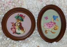 Two Needlepoint Beatrix Potters Benjamin Bunny and by pmandmm, $35.00