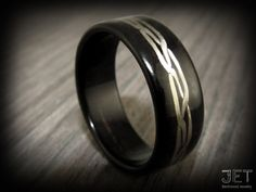 Bentwood Ring Ebony with Hand Woven Sterling by JETbentwoodjewelry