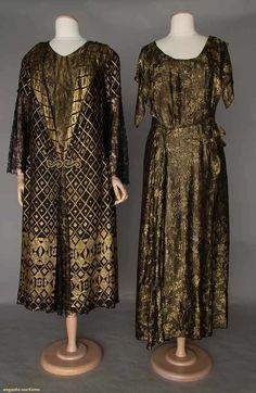 Dresses (image 1)   1920-1930   lame brocade, Chantilly lace   Augusta Auctions   April 20, 2016/Lot 368